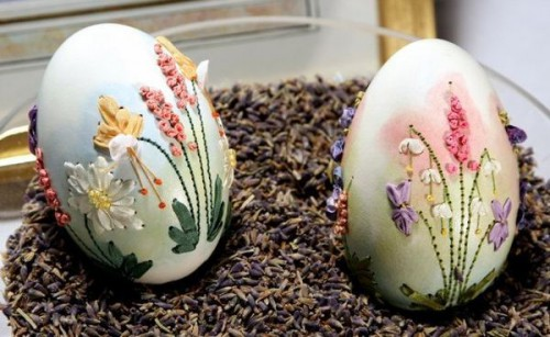 вышивка лентами по яичной скорлупе