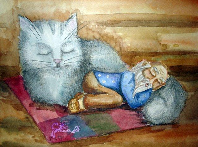 domovoi s kotom spit